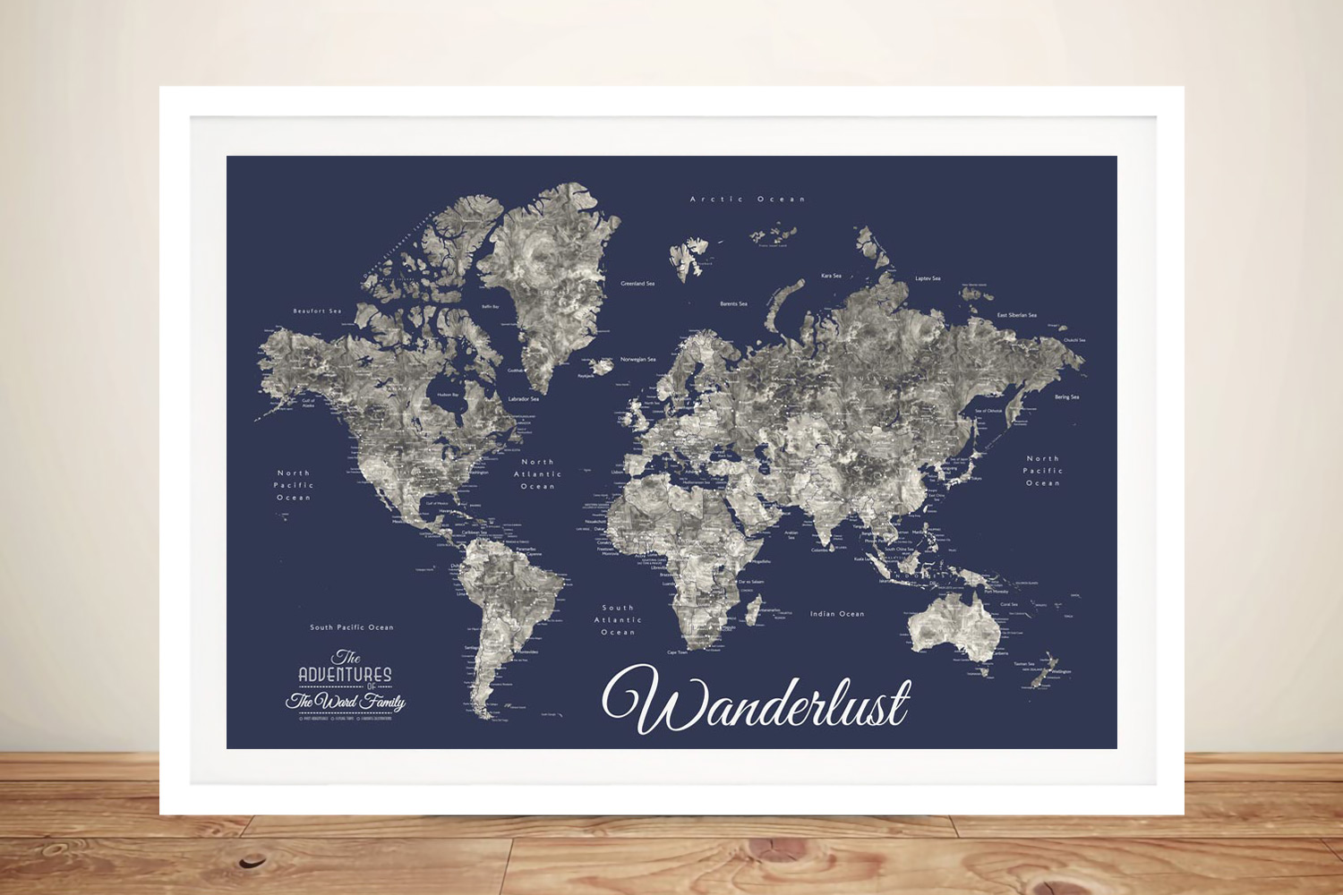 Buy a Custom Navy Blue Detailed World Map | Wanderlust Navy Blue Pushpin Map