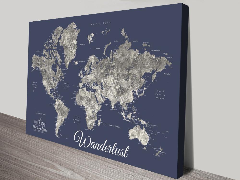 Buy a Ready to Hang Custom Map Gift Ideas AU