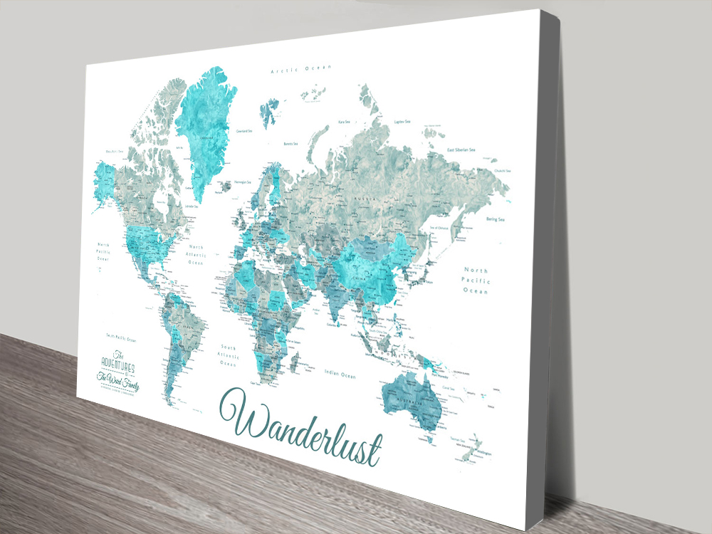 Buy Wanderlust Detailed Map Art in Ocean Tones | Wanderlust Ocean Tones Pushpin Map