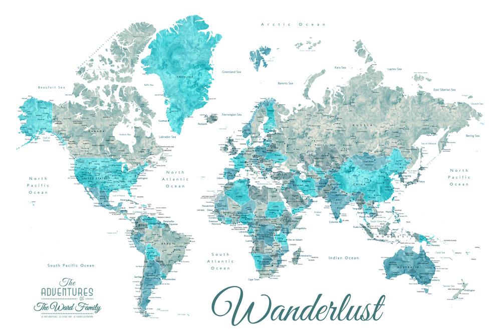 Buy Detailed Ocean Tones Map Art Gift Ideas AU