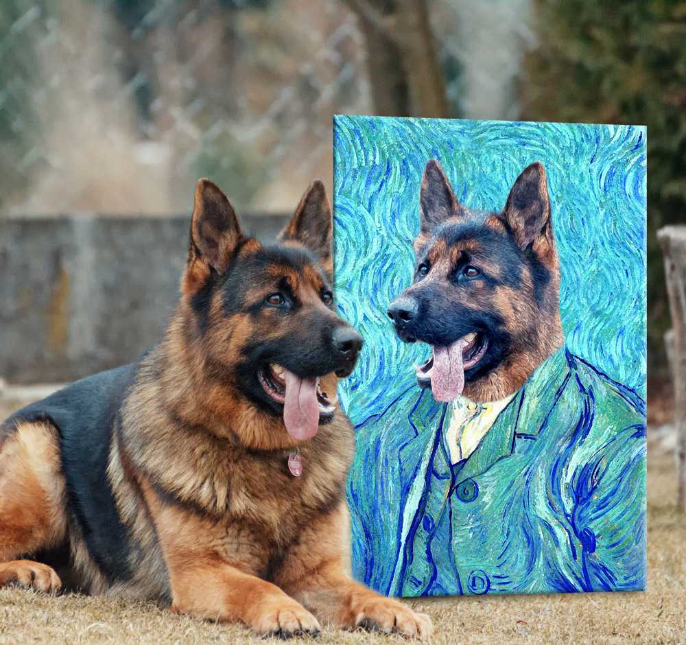 Custom Van Gogh Pet Portrait | Van Gogh Pet Portrait