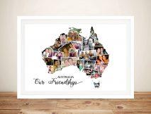 Australia Map Photo Collage Framed Wall Art