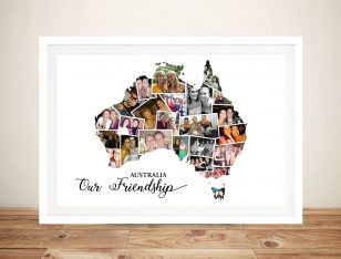 Australia Map Photo Collage Framed Wall Art
