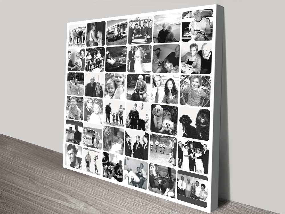 Black and White Photo Collage canvas print