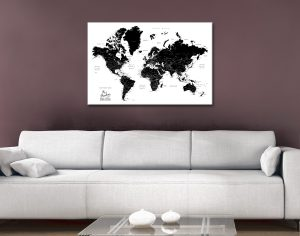 Buy a Black & White World Map Great Gift Ideas Online