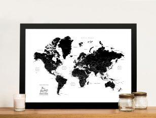 Buy a Custom Pushpin Black & White World Map