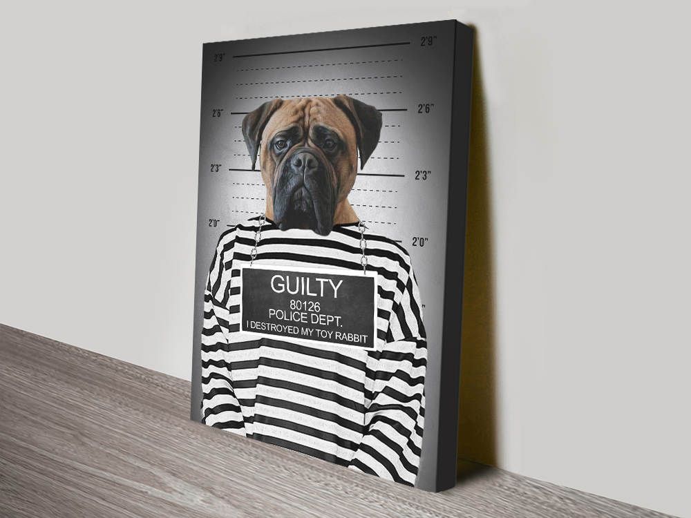 Convicted Dog Portrait canvas print