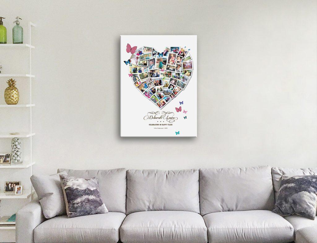 Heart Photo Collage Canvas Artwork