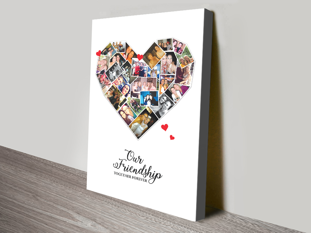 Personalised Heart Photo Collage Canvas Wall Art | Heart Photo Collage Canvas Art