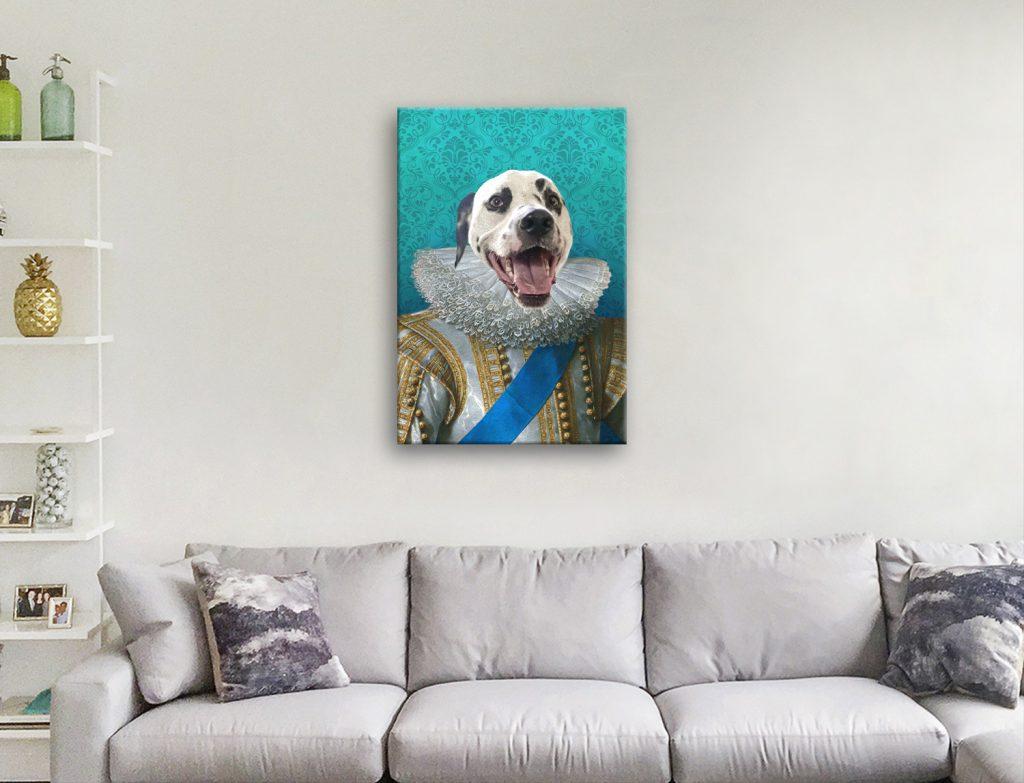 King of France Dog Portrait Canvas Art