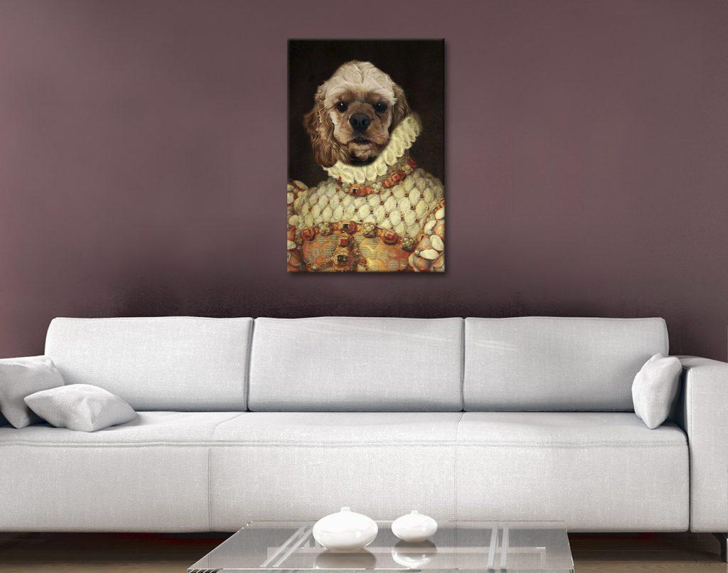Personalised Dog Portrait Spaniel Canvas
