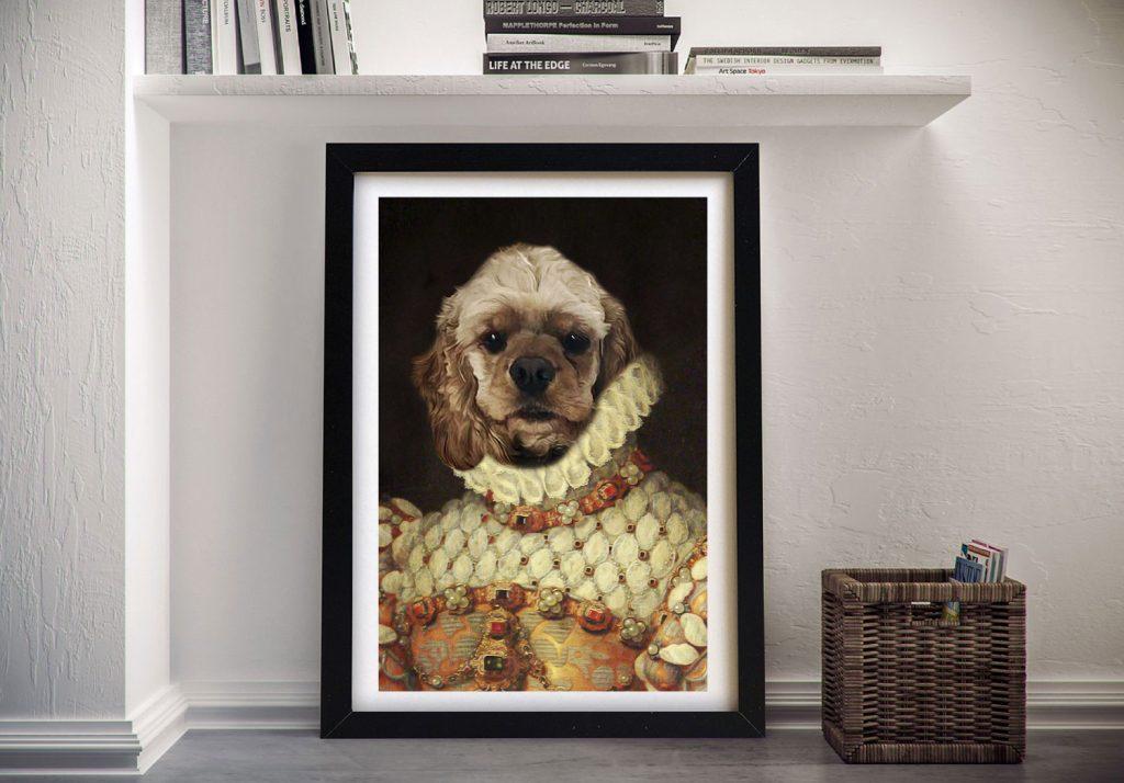 Custom Dog Portrait Spaniel Framed Art