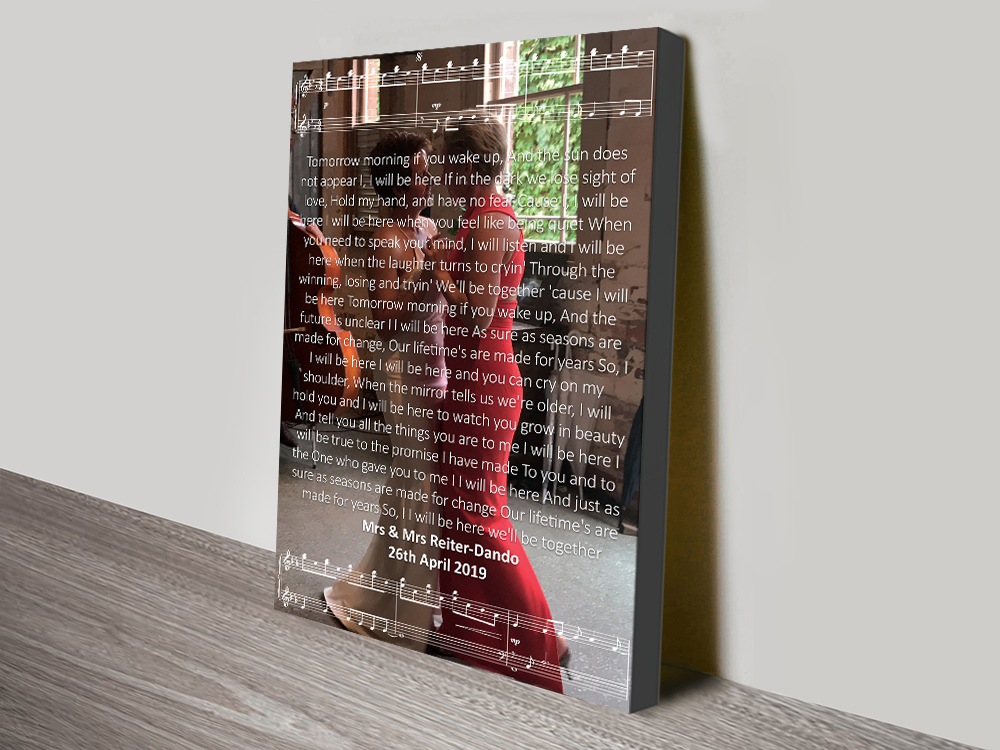 Personalised Photo Song Lyrics canvas print