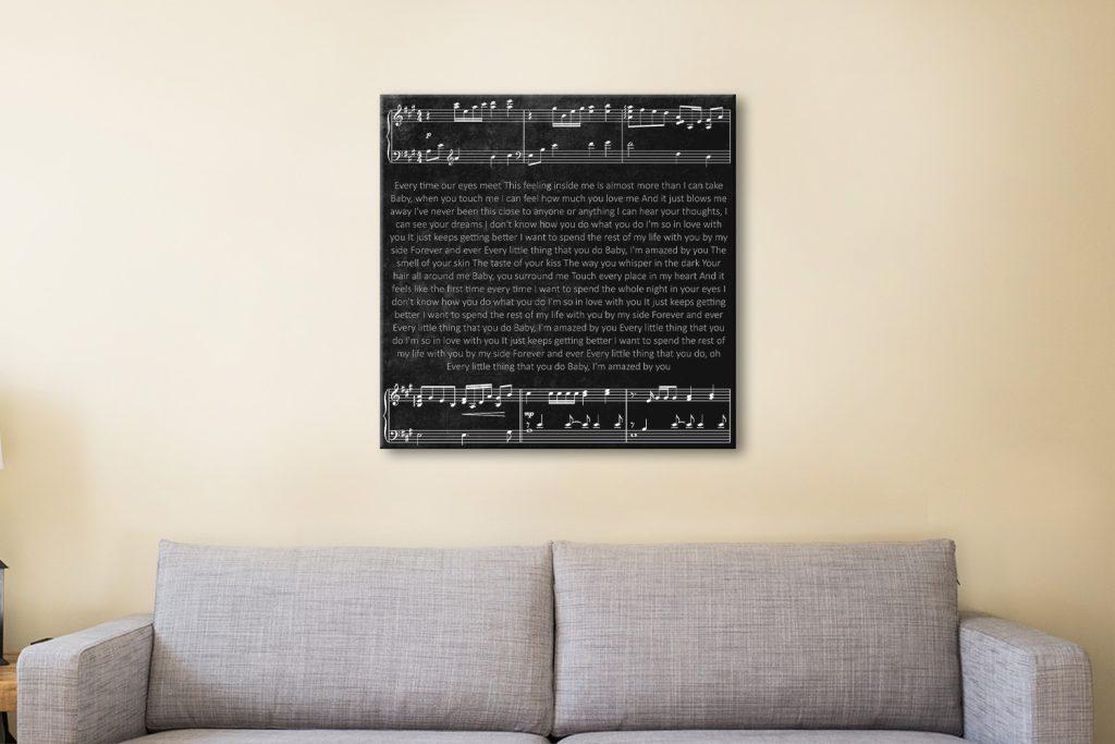 Personalised Song Lyrics Canvas Artwork
