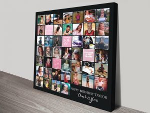 Photo Collage with Text Squares canvas print