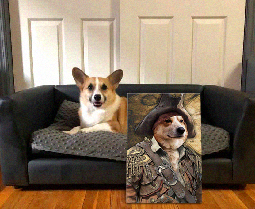 Personalised Pirate Dog Portrait Canvas Prints