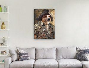 Personalised Pirate Pet Portrait Canvas Art