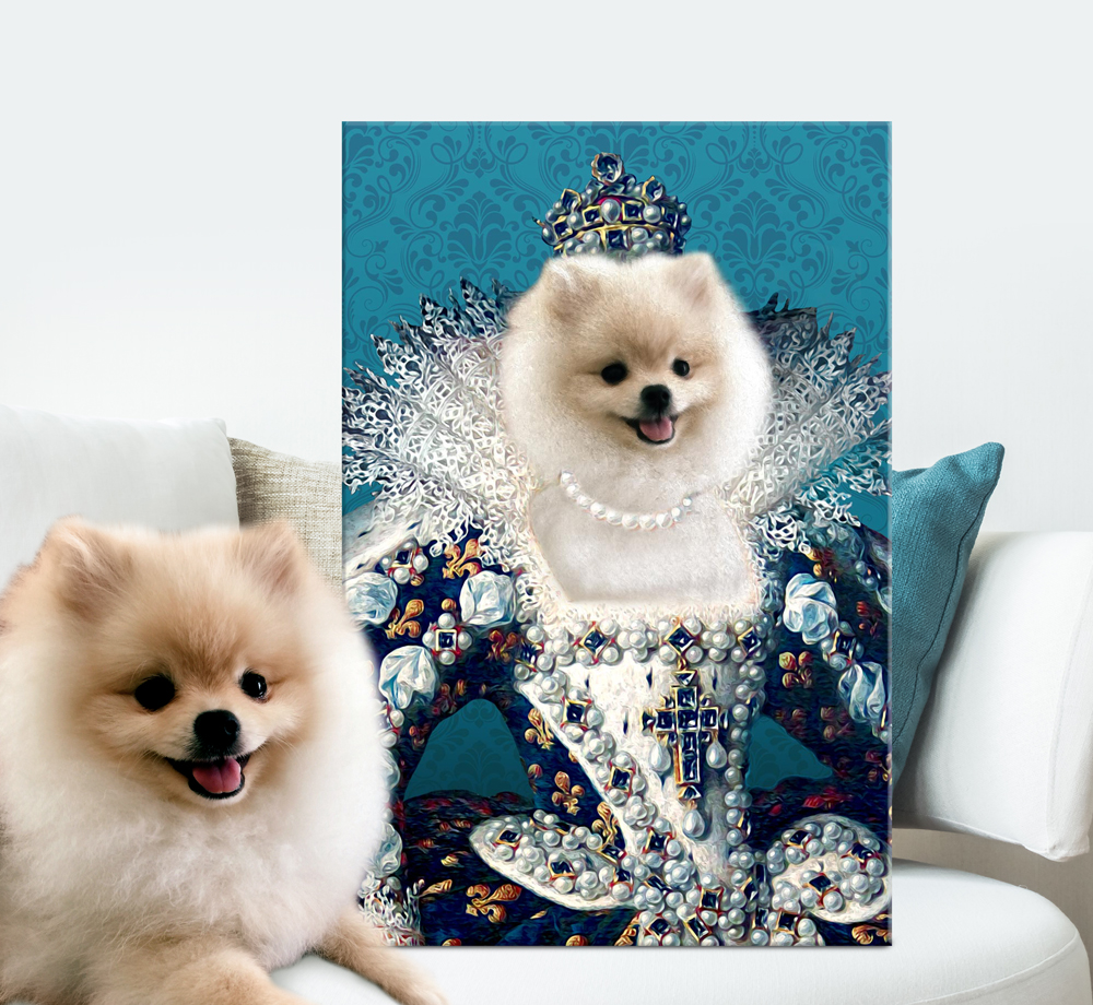 Buy Regal Personalised Pet Portrait Canvas Art | Queen