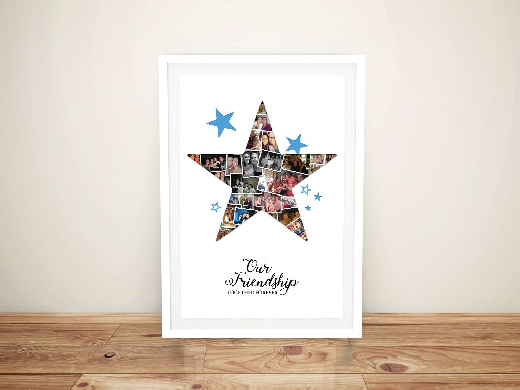Framed Personalised Star Photo Collage Canvas Art