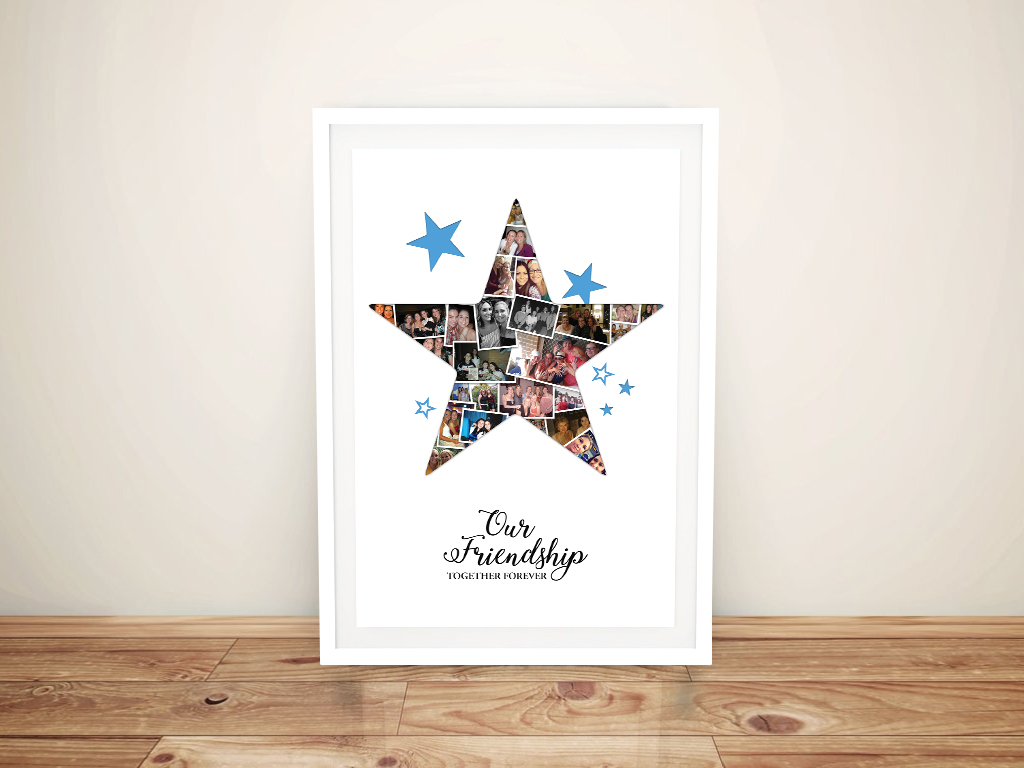 Framed Personalised Star Photo Collage Canvas Art | Star Photo Collage Canvas Art