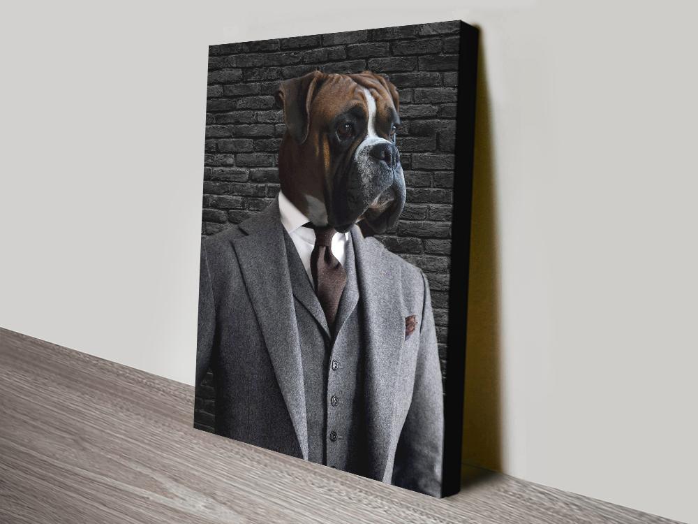 Suit and Tie Pet Portrait canvas print