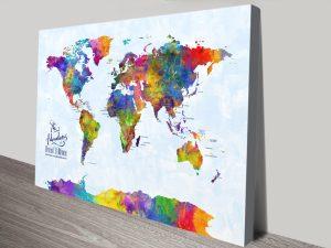 Custom Multicoloured Watercolour Push Pin Map