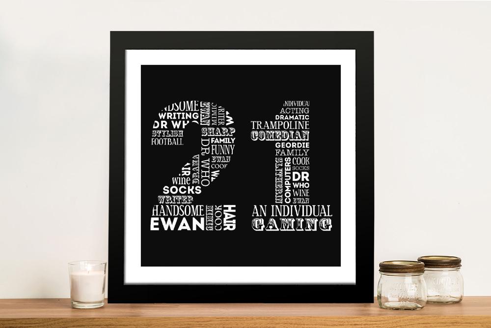 Custom Birthday Numbers Framed Wall Art