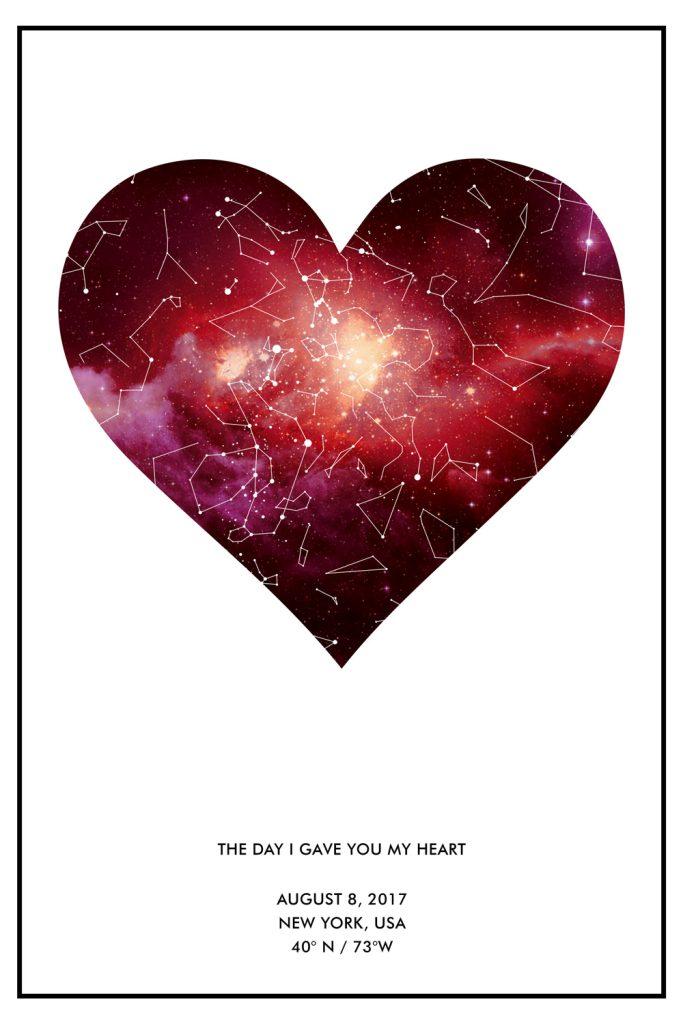 Heart Star Map Art