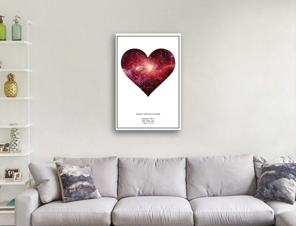 Custom Heart-Star Map Canvas Artwork
