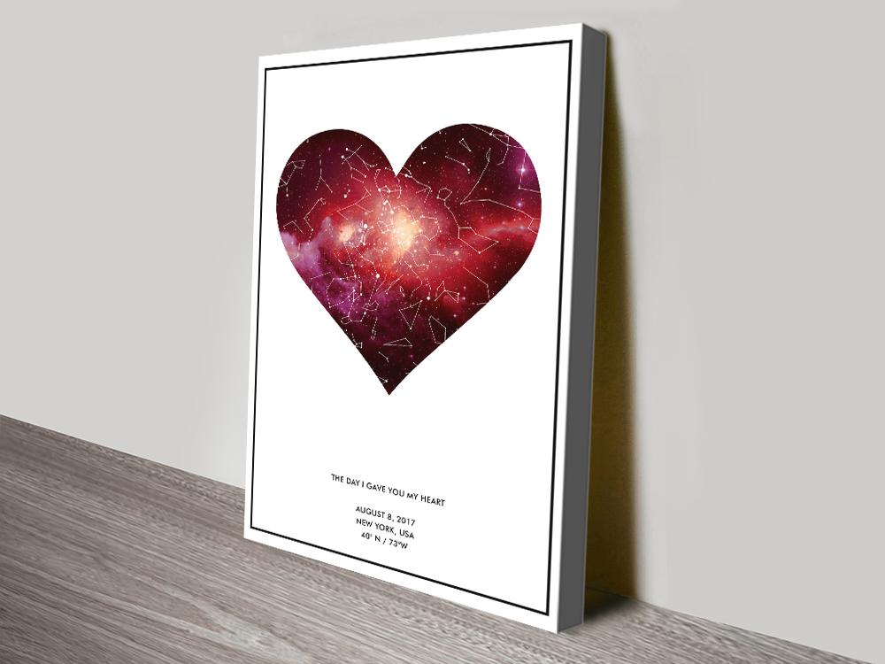 Heart Star Map canvas print