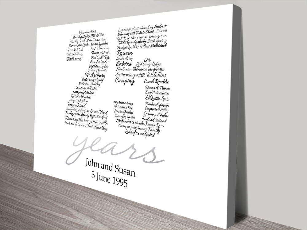 Personalised Number Outline canvas print