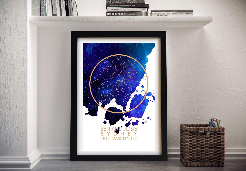 Personalised Watercolour City Map Star Art | Watercolour City Map Star Art