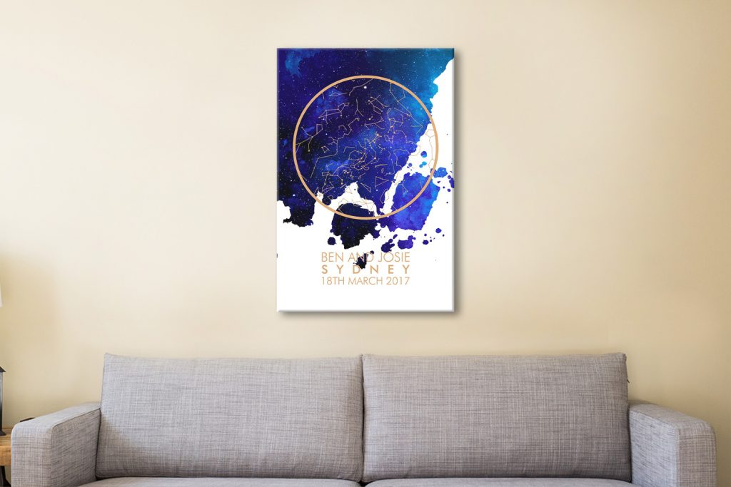 Night Sky Star Chart Canvas Print