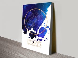 Personalised Night Sky Star Chart Canvas