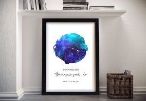 Personalised Sky Blue Watercolour Star Map