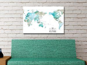 Watercolour Green Australia Centred Push Pin Map