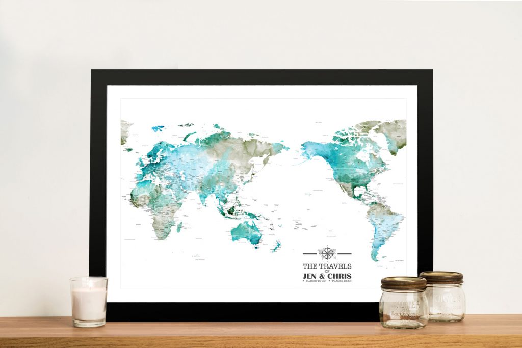 Custom Green Watercolour Pacific Centred Map