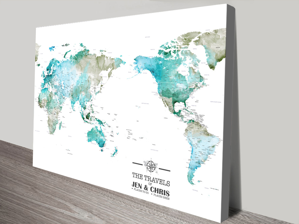Custom Green Watercolour Australia Centred Map | Custom Green Watercolour Australia Centred Map