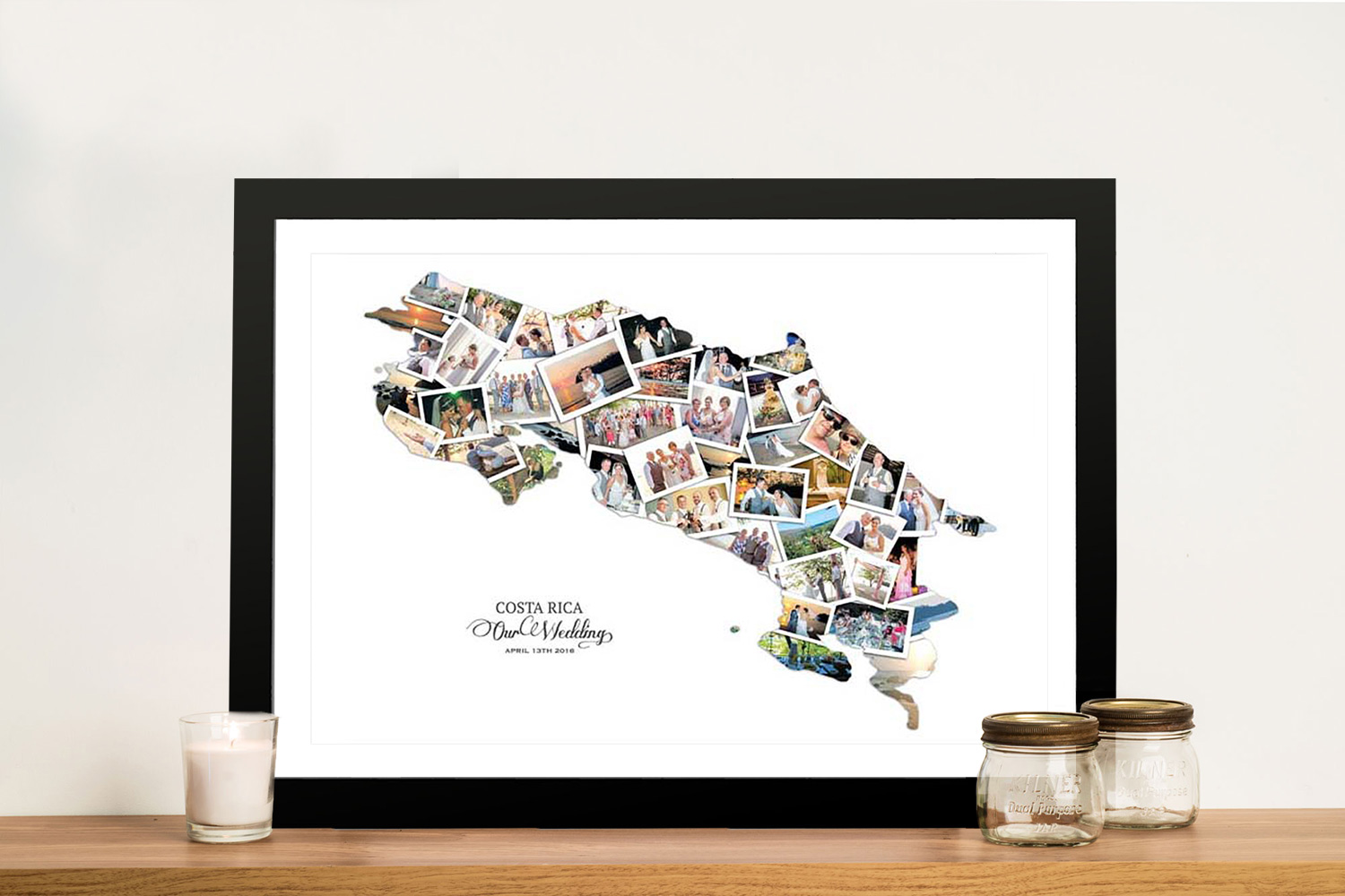 Buy a Costa Rica Framed Photo Map Collage | Costa Rica Map Collage