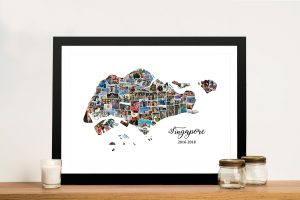 Singapore Map Photo Collage
