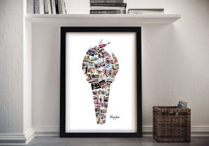 Flaming Torch Shape Photo Collage Artwork