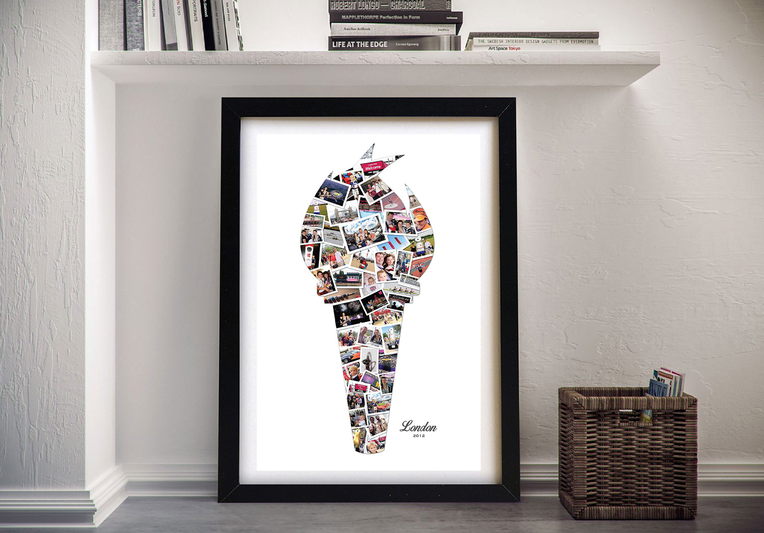 Flaming Torch Shape Photo Collage Artwork | Custom Shape Photo Collage Art