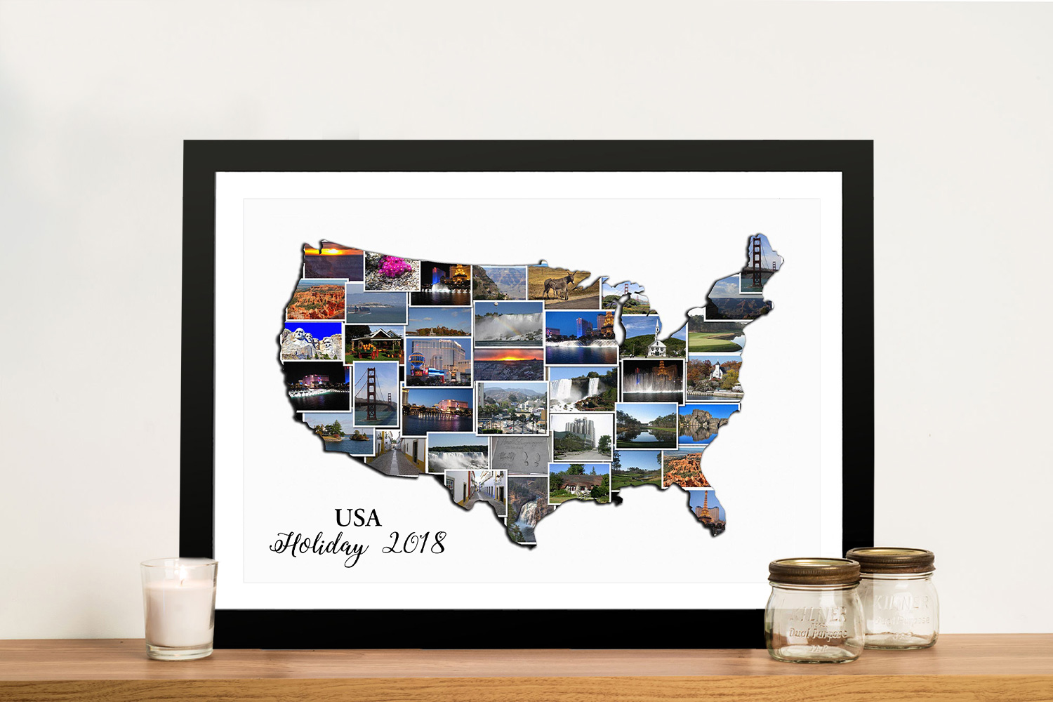 Framed Map of the USA Photo Collage Art | America Map Collage