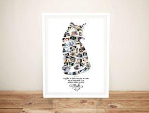 Framed Custom Cat Photo Collage Artwork