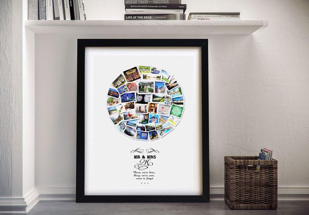 Custom Circular Photo Collage Print on Canvas