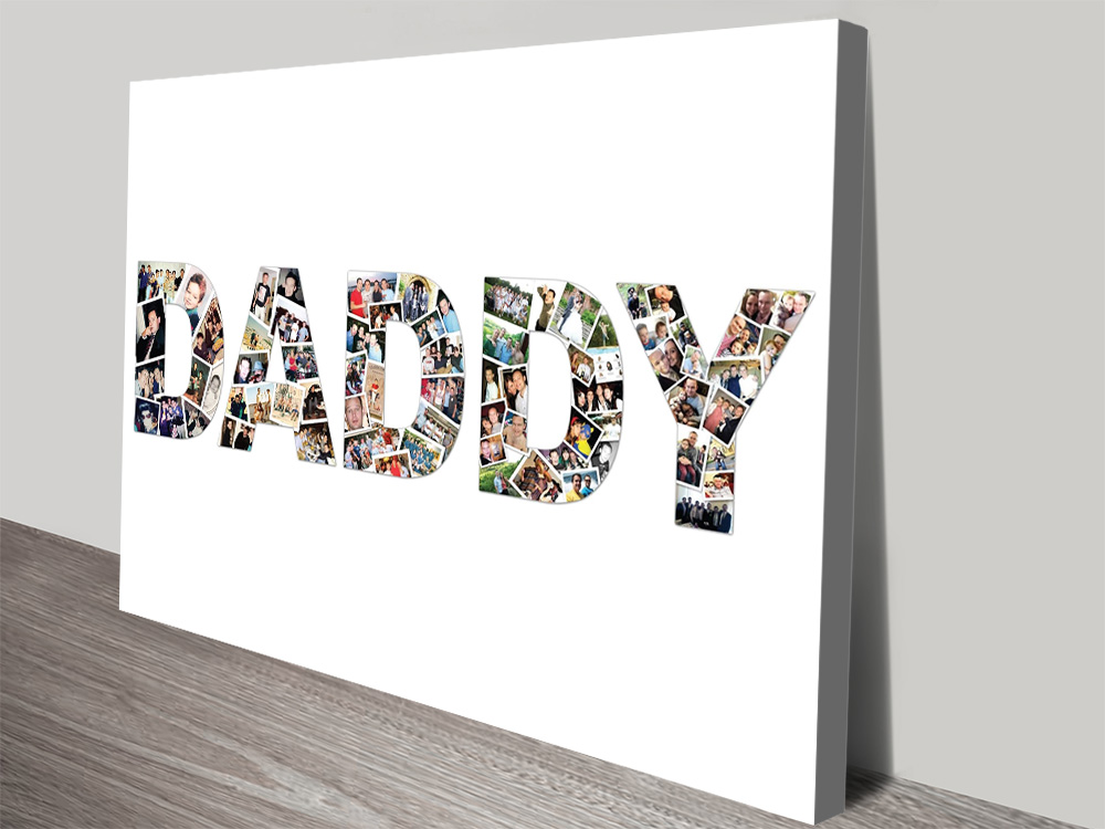 Dad Personalised Photo Collage Art on Canvas | Custom Wording Photo Collage