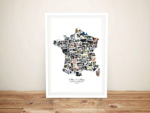 Framed Photo Collage Map of France Wall Art