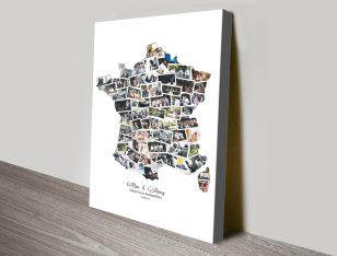 Map of France Custom Canvas Photo Collage