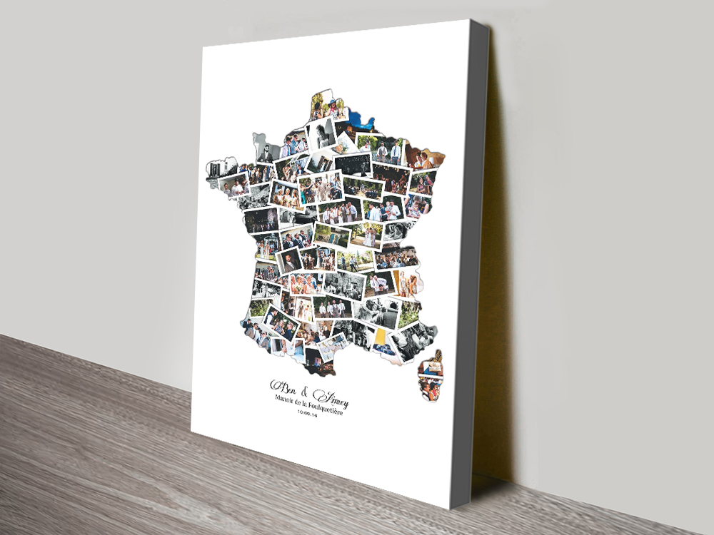 Map of France Custom Canvas Photo Collage | France Map Collage