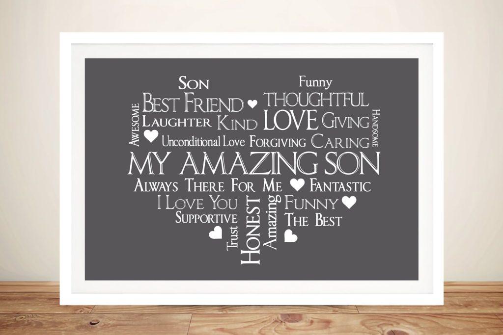 Framed Amazing Son Heart Typographic Art